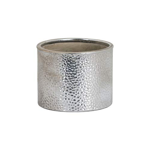 Hill Interiors Metallic Ceramic Cylindrical Planter (One Dimension) (Silver)
