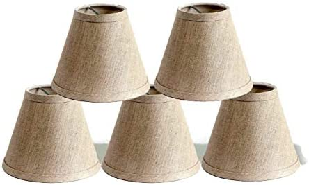 Urbanest Pure Linen Chandelier Lamp Shades, 6-inch, Hardback Clip On, Oatmeal Set of 5