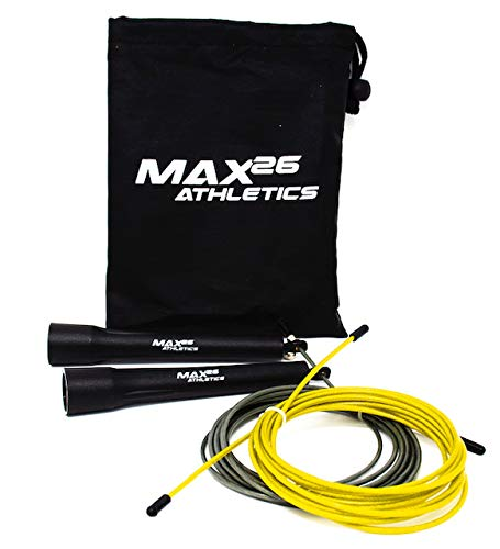 MAX26 Athletics - Jump Rope - Jumping Ropes - Speed Jump Rope - Endurance Training Workout for Boxing, MMA, Crossfit, or Fitness - Adjustable Skipping Jump Rope for Men, Women and Kids Fit