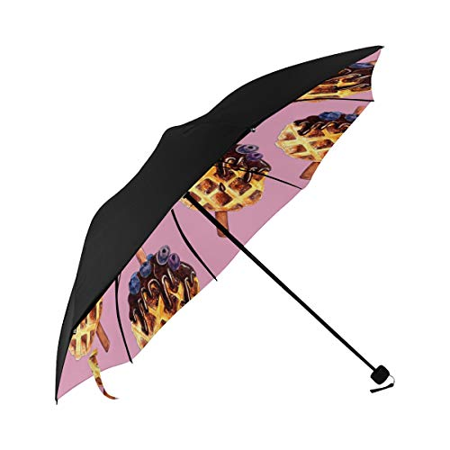 Waffle Dessert Hand Drawn Food Compact Travel Umbrella Sun Parasol Anti Uv Foldable Umbrellas(underside Printing) As Best Present For Women Sun Uv Protection