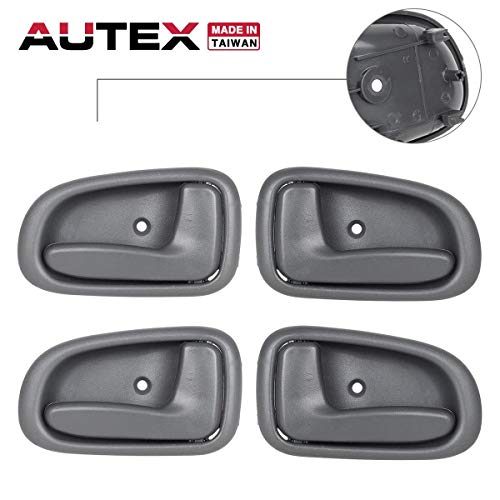 AUTEX 2pcs Front/Rear Left (Driver Side) + 2pcs Front/Rear Right (Passenger Side) Gray Interior Inner Door Handle Compatible with Toyota Corolla,Geo Prizm 1993 1994 1995 1996 1997 79505, 79504