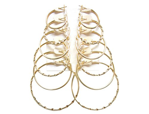Hoop Earring Set 6 to 12 Pair; 1, 1.2, 1.4, 1.6, 1.8, 2 inches (Gold Flat and Notched Edge)