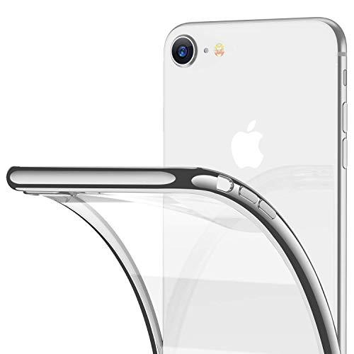 RANVOO iPhone 8 Case, iPhone 7 Case, Clear Soft Slim Thin Case Premium Flexible Chrome Bumper Transparent TPU Back Plate Gel Cover Apple iPhone 8 / iPhone 7 (Crystal Silver)