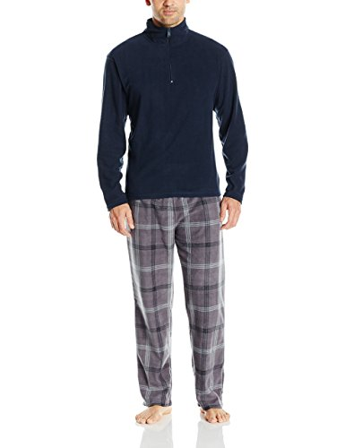 INTIMO Men's Long Sleeve Solid Quarter Zip Microfleece Top and Microfleece Plaid Pant, Grey, Size M