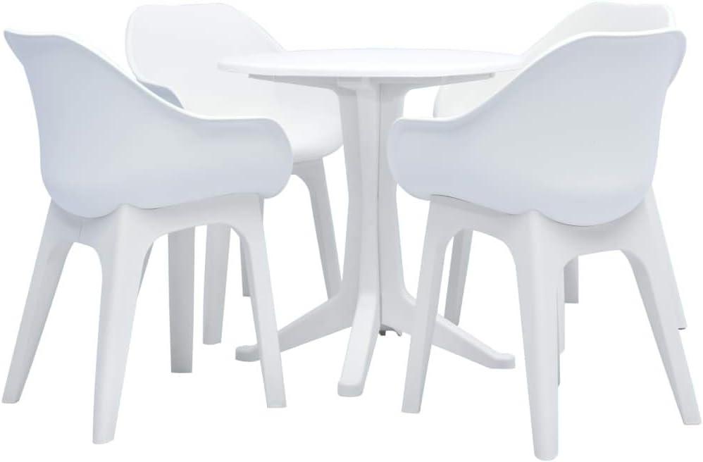 Tidyard Juego de Comedor para jardín 5 Piezas plástico Blanco 1 Mesa y 4 sillas, 2#: Amazon.es: Hogar
