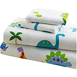 Wildkin Toddler Sheet Set, 100% Cotton Toddler Sheet Set with Top Sheet, Fitted Sheet, and Pillow Case, Bold Patterns Coordinate with Other Room Décor, Olive Kids Design – Dinosaur Land