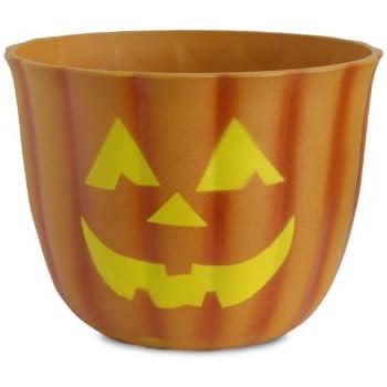Akro-Mils Fiber Clay Pumpkin Pot with Faces, 10-Inch