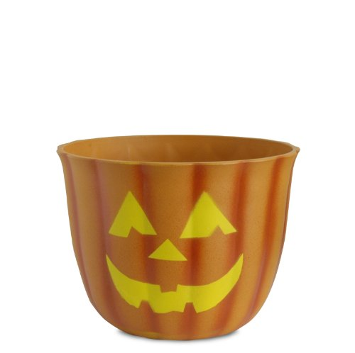 Akro-Mils Fiber Clay Pumpkin Pot with Faces, 10-Inch