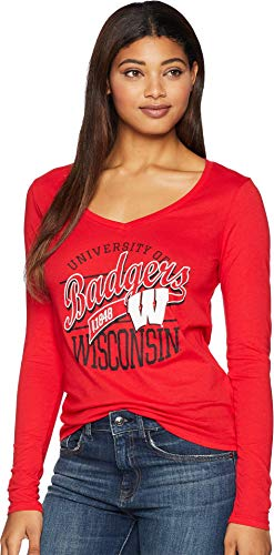 Champion College Women's Wisconsin Badgers Long Sleeve V-Neck Tee Scarlet - Pack Badgers Tee Wisconsin