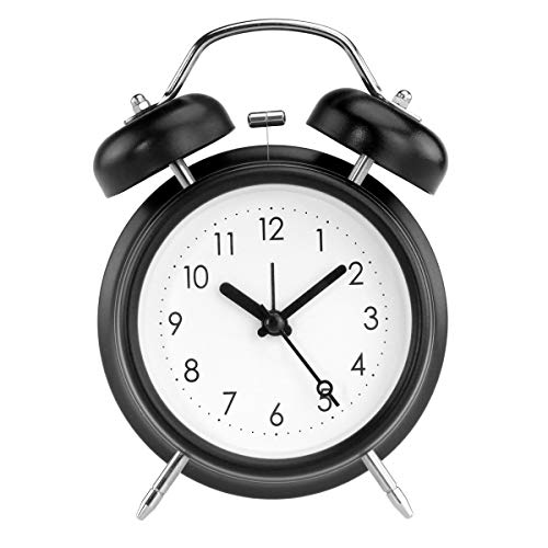 """(PILIFE 5"""" Twin Bell Alarm Clock with Backlight, Loud Alarm to Wake You Up, Silent Working Perfect for Bedroom and Work(Black))"""