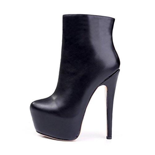 Stiletto Stiefelette High Kurzschaft Damen uBeauty Pumps Stiefel mit Übergröße Heels Schuhe Plateau Pu Schwarz 4xEqx0a