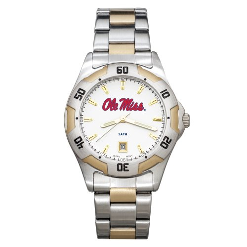 NCAA Mississippi Old Miss Rebels Men's All-Pro Two-Tone Watch by Logo Art