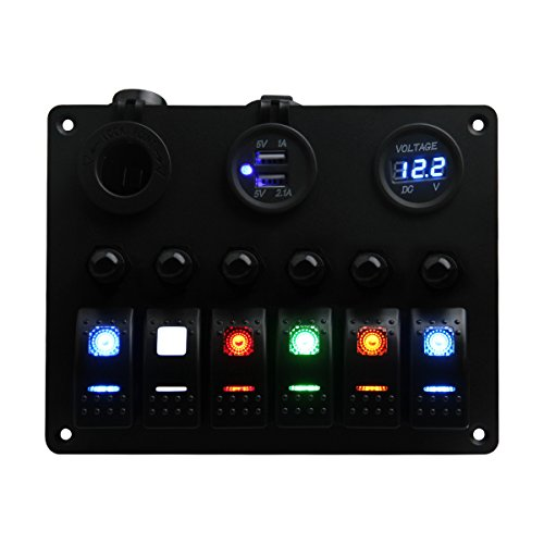 TEQStone Switch Panel, Marine Boat Car 6 Gang Blank, Rainbow LED Rocker Switch Panel with Circuit Breakers&Voltmeter 12V Cigarette Socket Double USB Power Charger (6 Colours - Electrical Switch Panel
