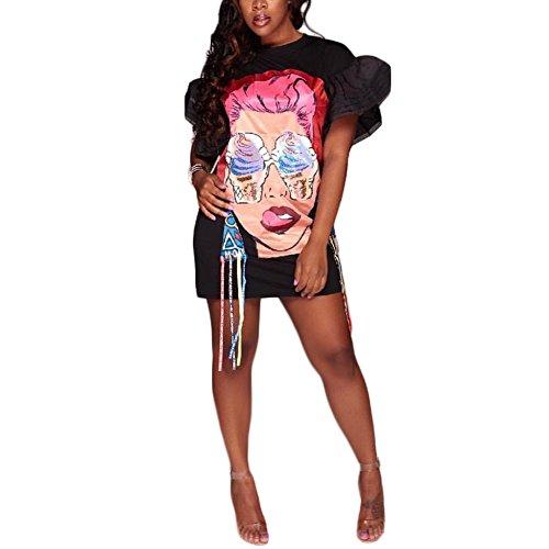 Tunic Mini Blouse Digital Dress Pattern Sleeve ENWEI Print Black Loose Puff Short T Shirt 1 Women's Casual XnqSPR