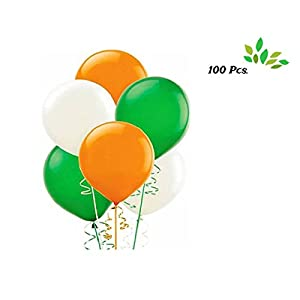 AMFIN ( Pack of 100 ) Premium Quality Metallic Balloons with Curling Ribbon For Republic , Independence Day decoration…