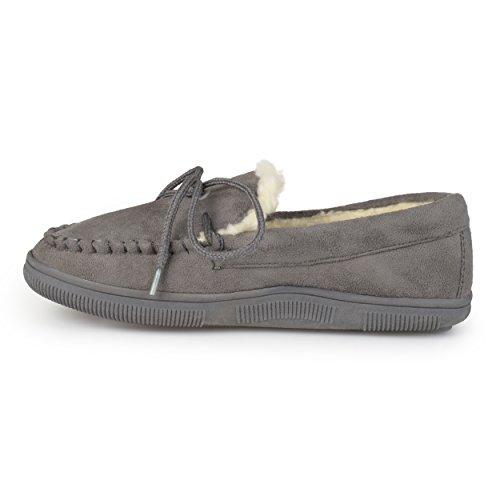 Pantofole Da Uomo Pindari In Camoscio Con Finto Camoscio Grigio