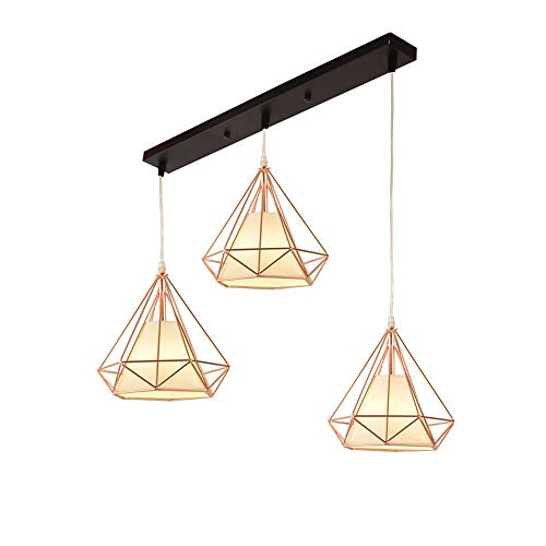 - Pendant Lighting Vintage Polygon Wire Ceiling Light, Rose Gold Adjustable Chandelier Light Fixture for Kitchen Island, Living Room, Restaurants Art Decor (Design : 3-Lights)