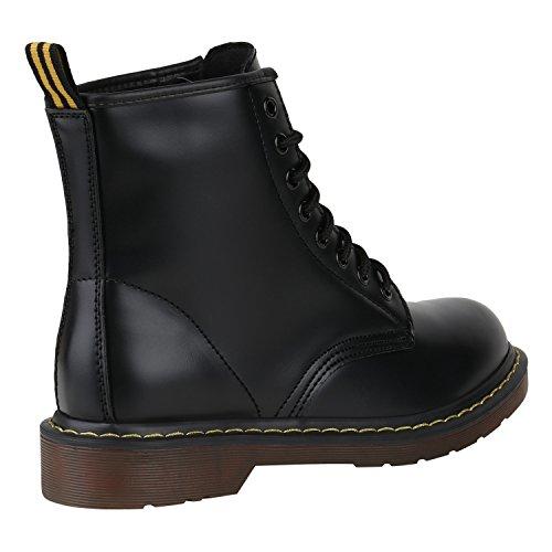 Stiefelparadies Unisex Damen Herren Stiefeletten Worker Boots Profilsohle Flandell Schwarz Brito