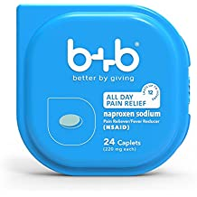 b+b Naproxen Sodium Caplets | ALL DAY PAIN RELIEF- lasts up to 12 hours | Pain Reliever + Fever Reducer | NSAID | 220mg | 24 Count Blister Pack