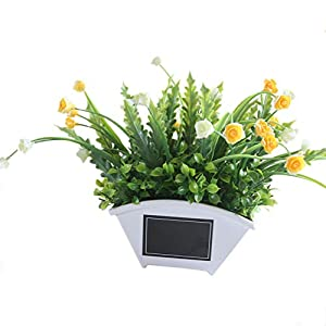 zzJiaCzs Artificial Rose Flower,1Pc Faux Flower Grass Plant Pot Bonsai for Garden Wedding Living Room Decor - Yellow 13