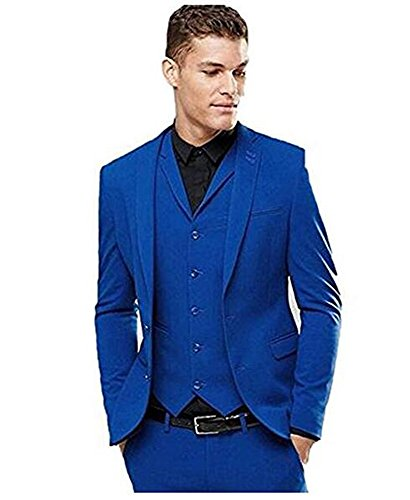 Mens Royal Blue Slim Fit 3 Piece Suit Two Button Single Breasted Wedding Party Prom(34