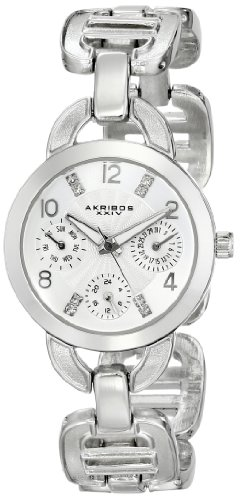 Akribos XXIV Women's AK703SS Impeccable Crystal Multifunction Silver-tone Chain link Bracelet Watch