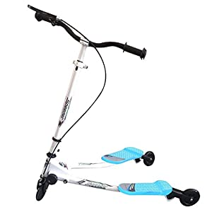 Garain Kids 3 Wheel Y Flicker Scooter Tri Swing Drifter Scooter for Boys & Girls (Blue 2)