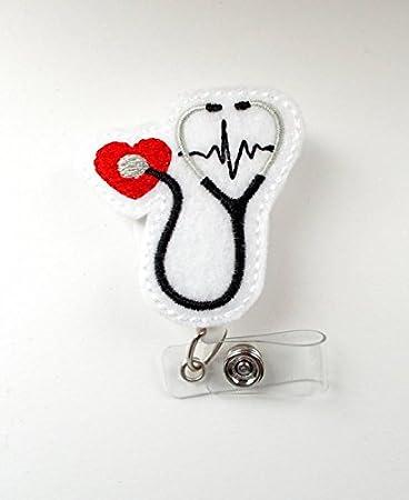 Stethoscope EKG Red - Retractable Badge Reel - Cardiac Badge Holder - Nurse Badge Holder - Nursing Badge Clip - Felt Badge - CCU Badge
