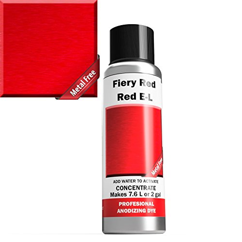(Professional Aluminum Anodizing Dyes | Fiery Red E-L | Light to Rich Red | Powder Concentrate Makes 7.6 liters Or 2 Gallons)