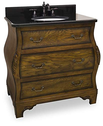 Jeffrey Alexander VAN009-T Walnut Bombe Vanity, Walnut Burled