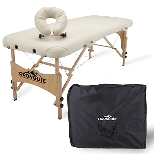 - STRONGLITE Portable Massage Table Package Shasta - All-In-One Treatment Table w/ Adjustable Face Cradle, Pillow & Carrying Case (28