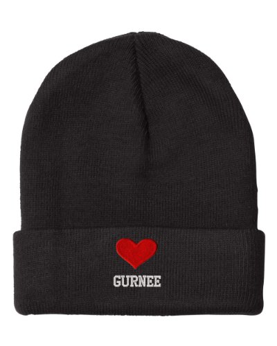 I Love Heart Gurnee Il City Embroidered Beanie Cap (City Of Gurnee Il)