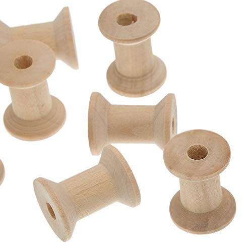 Sala-Tecco - 10PCs Crafts Cylinder Wooden Spools Of Thread Floss Natural Color Sewing Kit Needlework Tool 28.7mmx23mm ()