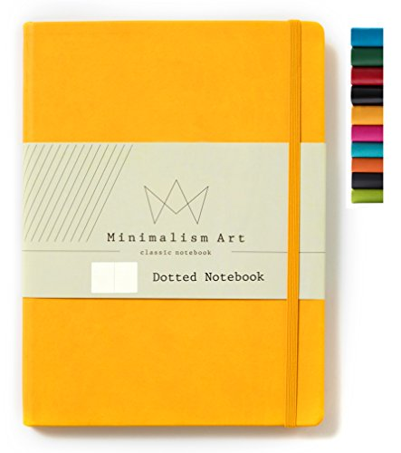 Minimalism Art, Classic Notebook Journal, A4 Size 8.3 X 11.4 inches, Dotted Grid Page, 192 Pages, Hard Cover, Fine PU Leather, Inner Pocket, Quality Paper-100gsm, Designed in San Francisco (Yellow) ()