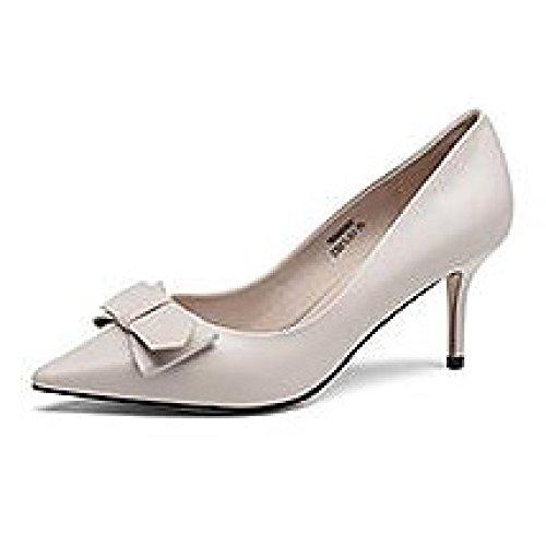 EU Femme Sexy 8cm De UK Mariage Talons Cour Chaussures 3 8 Travail Beige Noir Hauts Mode 35 wqwfAO