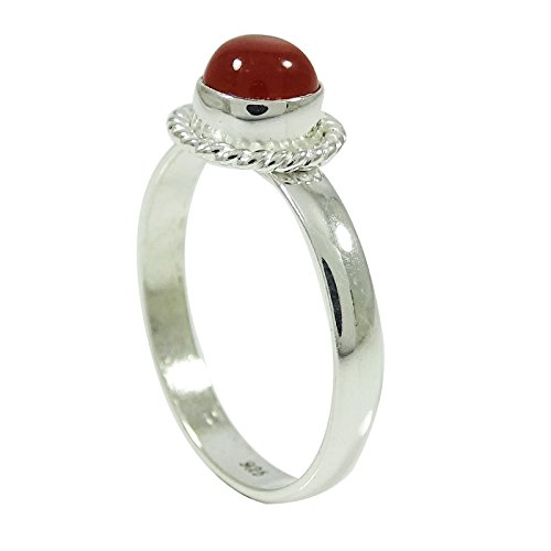 - Banithani 925 Sterling Silver Ring Round Cornelian Stone Jewelry Gift For Her