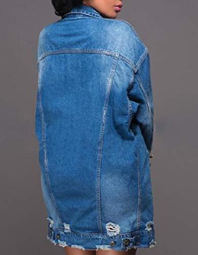 Hole Blue Mogogowomen Collare Tasto Abbassare Strappato Tasca Del Di Giacche xRqpxzfwU