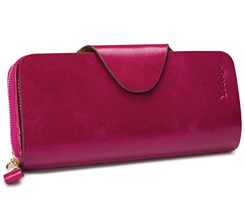 Yafeige Large Luxury Women's RFID Blocking Tri-fold Leather Wallet Zipper Ladies Clutch Purse(Purple)