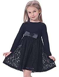 Girl's Casual Dress Satin Lace Kids Clothes with Bow