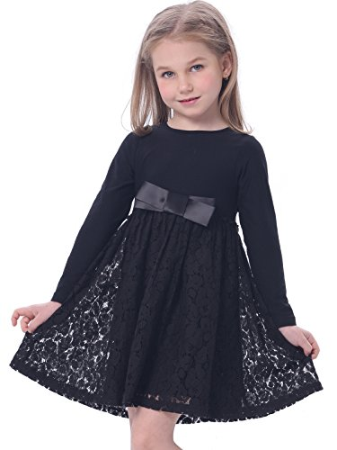 Bonny Billy Girl's Casual Satin Lace Dress with Bow 5-6 Years Black (Kids Black Dresses)