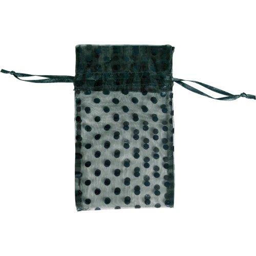 48 pcs Organza Black Sheer Polka Dot Drawstring Pouches Gift Bags 4 x 5 inch (Dot Cinch Polka)