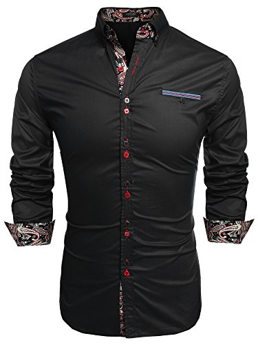 Coofandy Men's Fashion Slim Fit Dress Shirt Casual Shirt