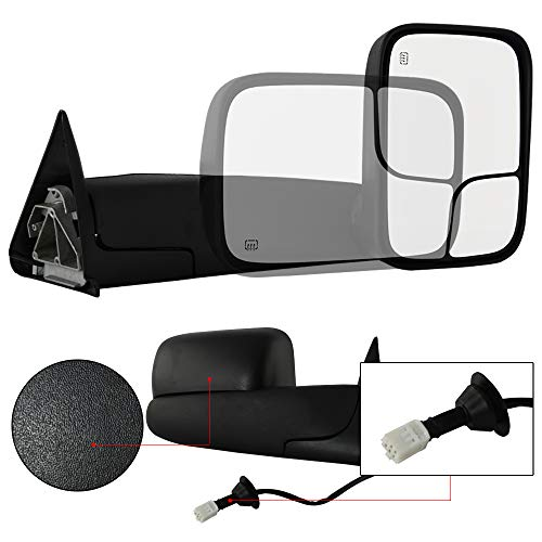 (Make Auto Parts Manufacturing Right/Passenger Side Towing Rear View Mirror Power Operated Black Manual Folding Heated for Dodge Ram 1500 1998-2002 & Dodge Ram 2500 3500 1999-2001 -)
