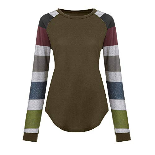 Xinantime Women Round Collar Tops T Shirt Stripe Casual Tunic Ladies Loose Long Sleeve Blouse Brown