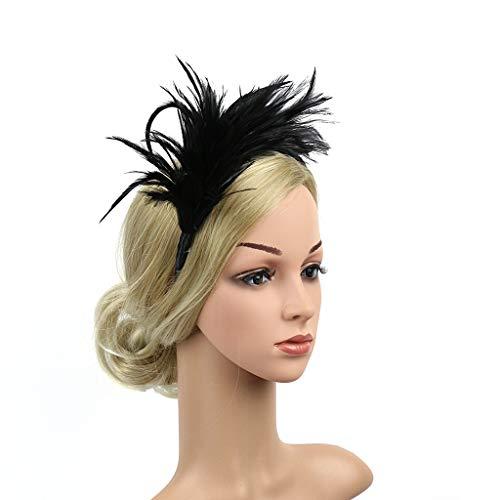 SiQing Vintage Burlesque Headpiece Women Fascinator Net Feather Fancy Flower Headband Party Wedding Mesh Hair Clip Headwear (Black)