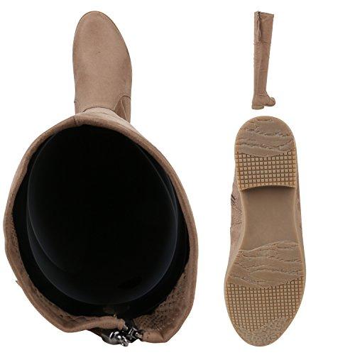 Stiefelparadies Damen Overknees Langschaft Stiefel Overknee Boots Strick Metallic Flandell Khaki Quasten