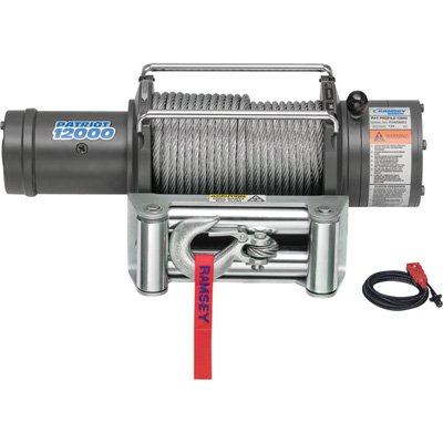 "Ramsey 109194 Winch (Patriot Profile, 12000 pounds, Roller Fairlead, Power In/Out, 3/8"" x 100' Wire Rope, 12 ft. Remote)"