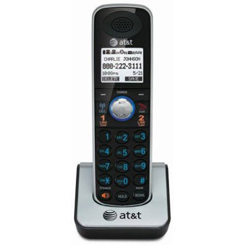 AT&T TL86009 Accessory Cordless Handset, Black/Silver | Requires an AT&T TL86109 Expandable Phone System to Operate ()