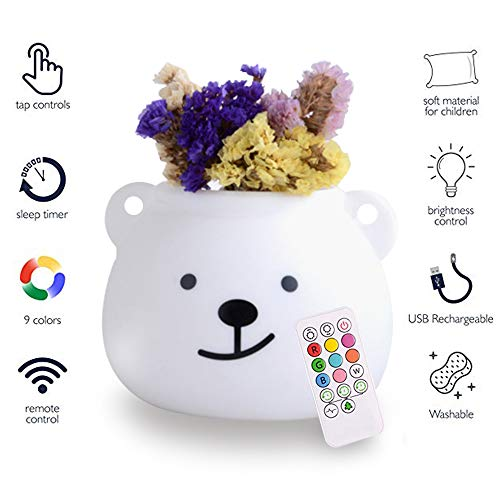 Plant Grow LED Nursery Night Lights for Kids: Silicone Baby Night Light with Touch Sensor - Portable and Rechargeable Infant or Toddler Color Changing Bright Nightlight & Baby