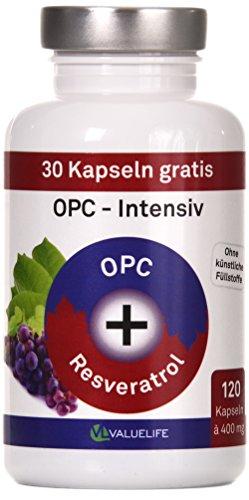 OPC Traubenkernextrakt Intensiv: 120 Kapseln Antioxidant- Komplex - hochdosiert - 400mg Traubenkernextrakt mit 95% OPC + 400mg Knöterich- Extrakt mit Resveratrol, 1er Pack (1x60g)